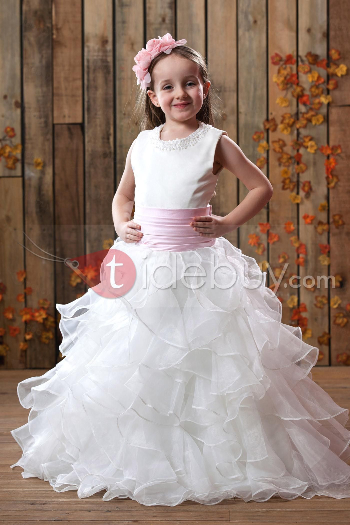 Girls wedding dress  Glamorous Aline Anklelength Pleats Sash Flower Girl Dress  Ankle