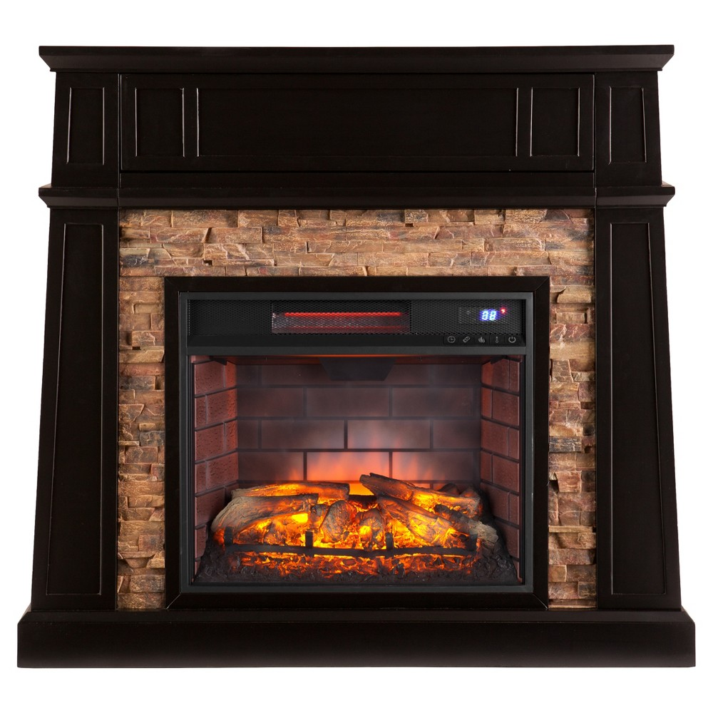Crestshire Faux Stone Infrared Media Fireplace Black Aiden