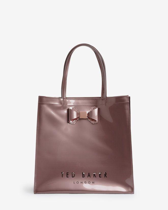 Large bow trim shopper bag - Pink  4592b965c