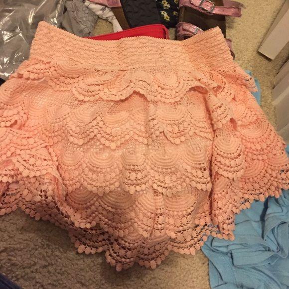 lace shorts peach colored lace shorts a'gaci Shorts