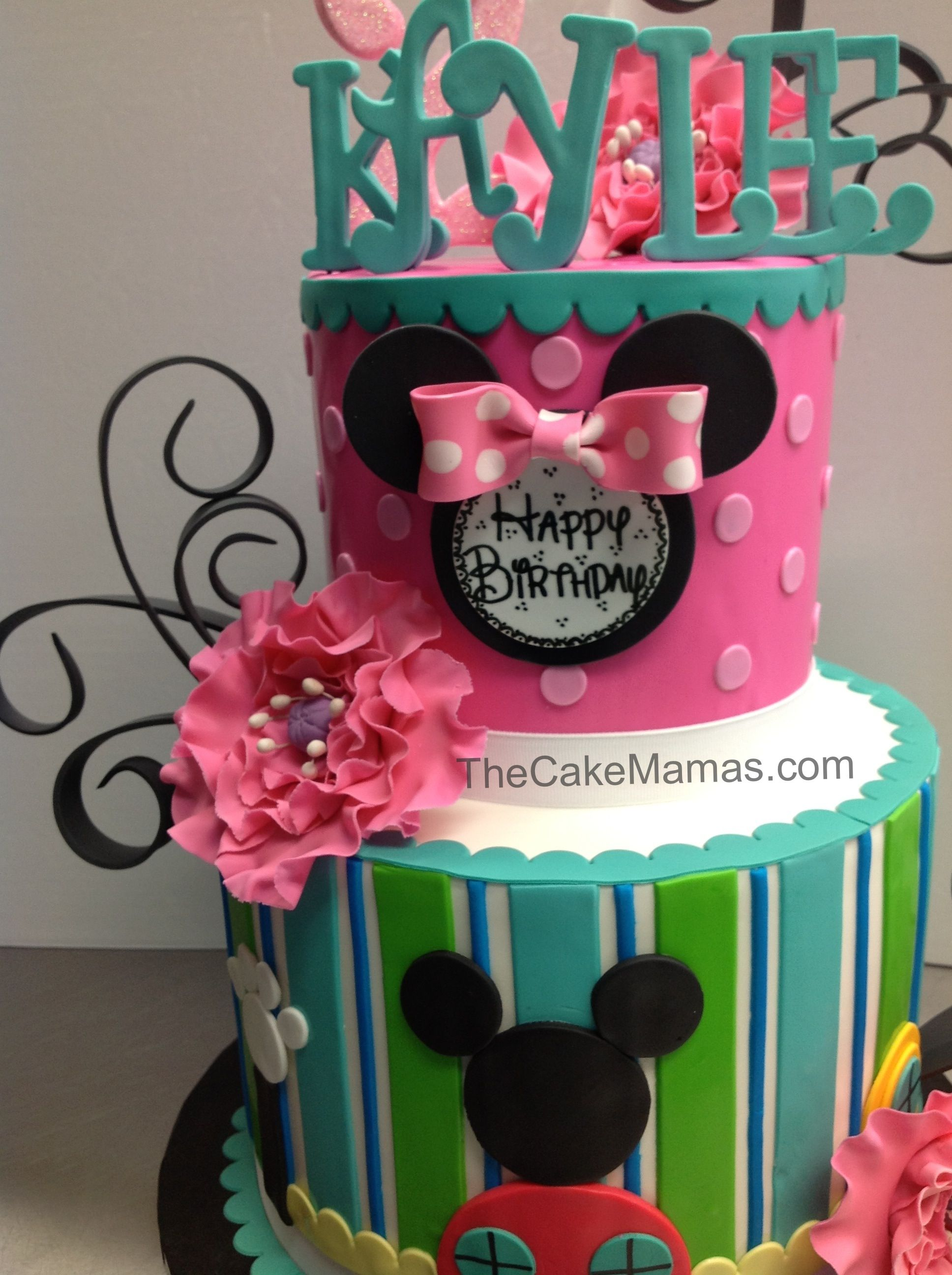 Coed Minnie Mickey Mouse Birthday Cake with beautiful flowers