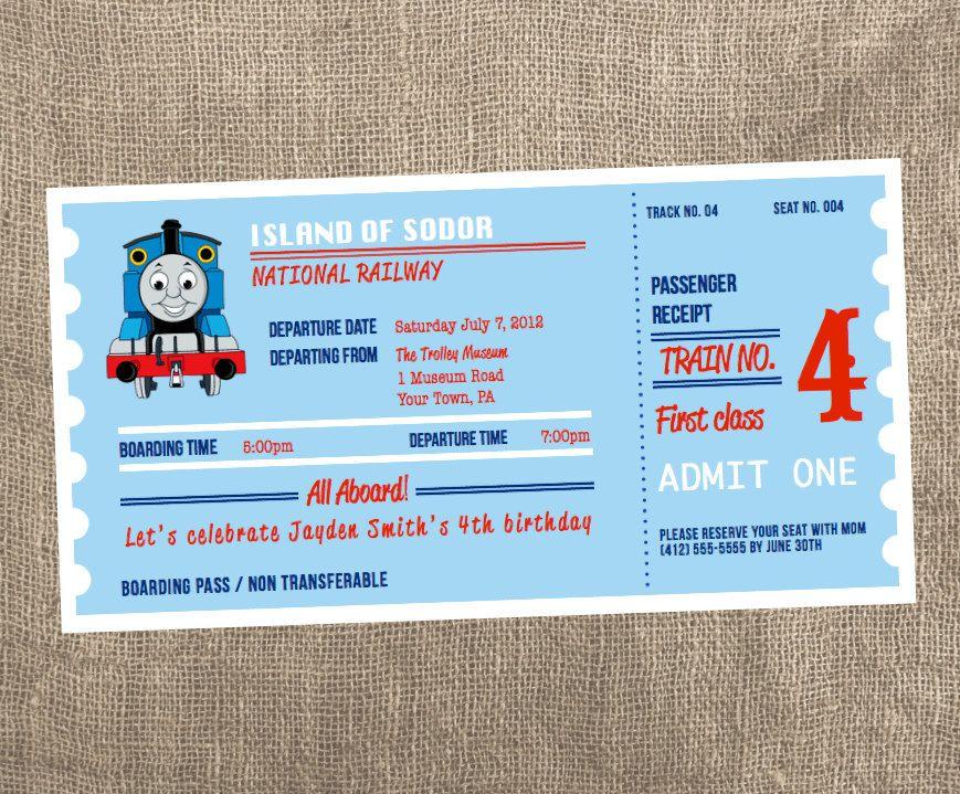 Thomas The Train Ticket Printable Invitation 14 00 Via Etsy Thomas The Train Printable Invitations Thomas Birthday