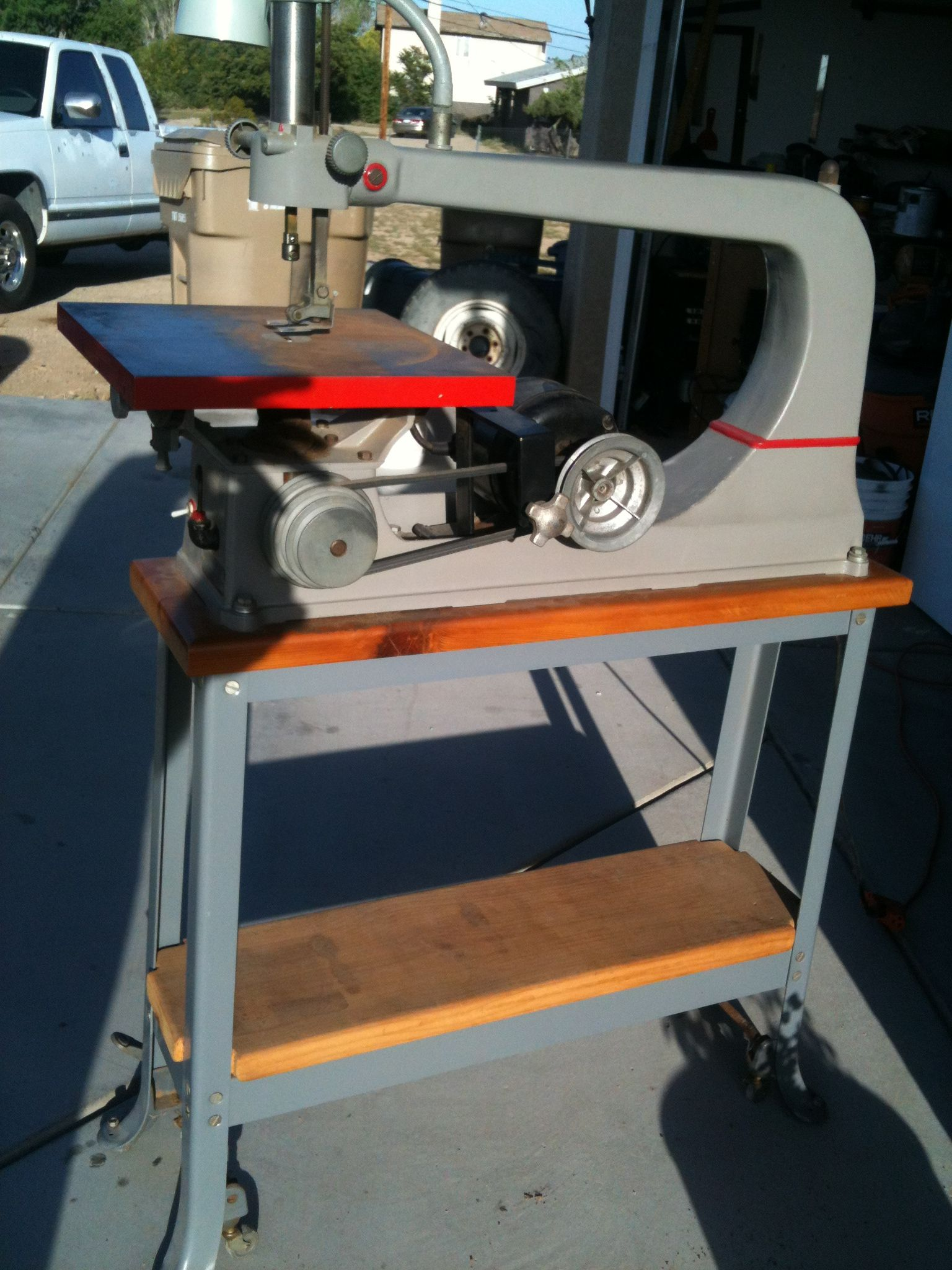 Jim's 1930's Totally Restored Craftsman Scroll / Jig Saw, Model 130.0404,  and Original Stand With The Lamp and Lifting Wheel Feet.