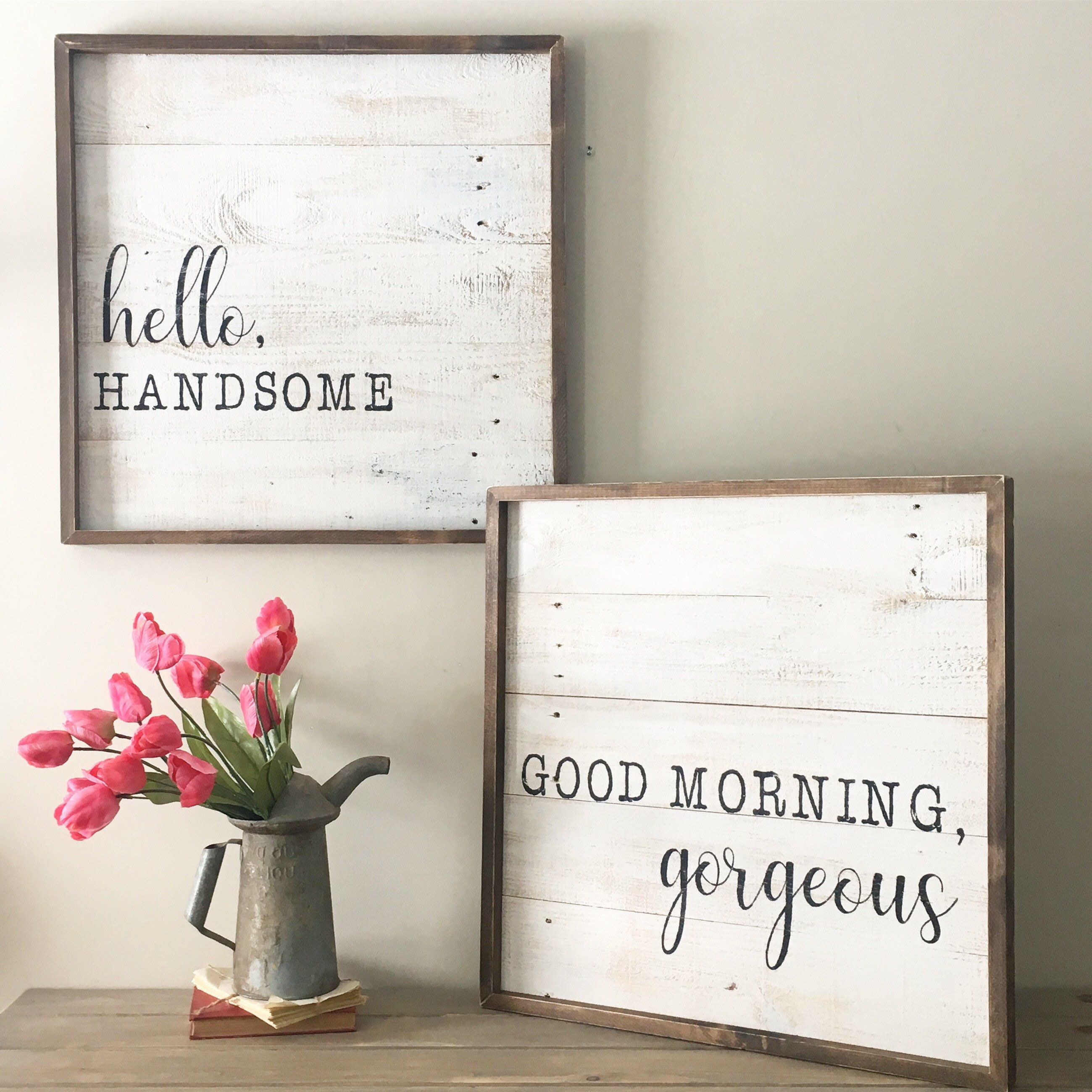 Good Morning Gorgeous Sign Hello Handsome Sign Reclaimed Wood Sign His And Hers Framed Sign Romantic Bedroom Decor Kids Bedroom Decor Good Morning Gorgeous