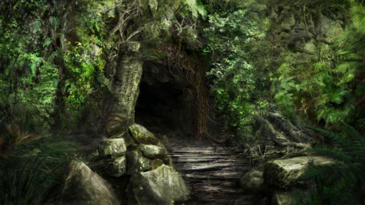 Fantasy forest, Cave entrance art, Fantasy landscape