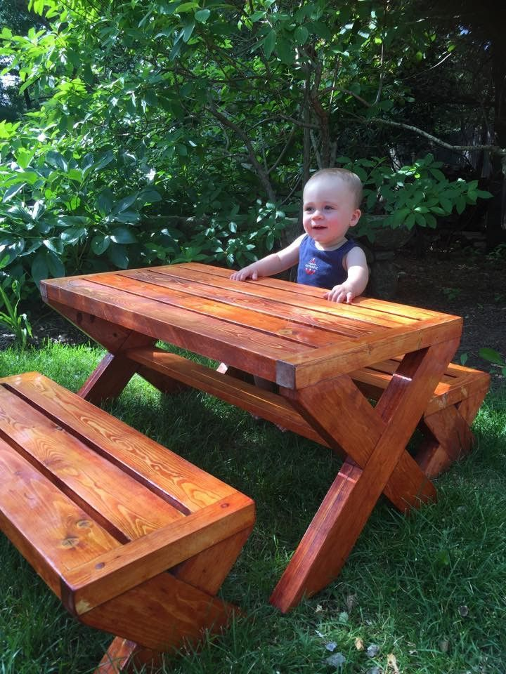 Childrens Picnic Table Handmade With Two Separate Benches Pickup - Spruce picnic table
