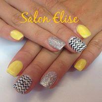 gel jaune de MSE ongle paillette peggy sage et blanc avec dessin peinture  acrylique