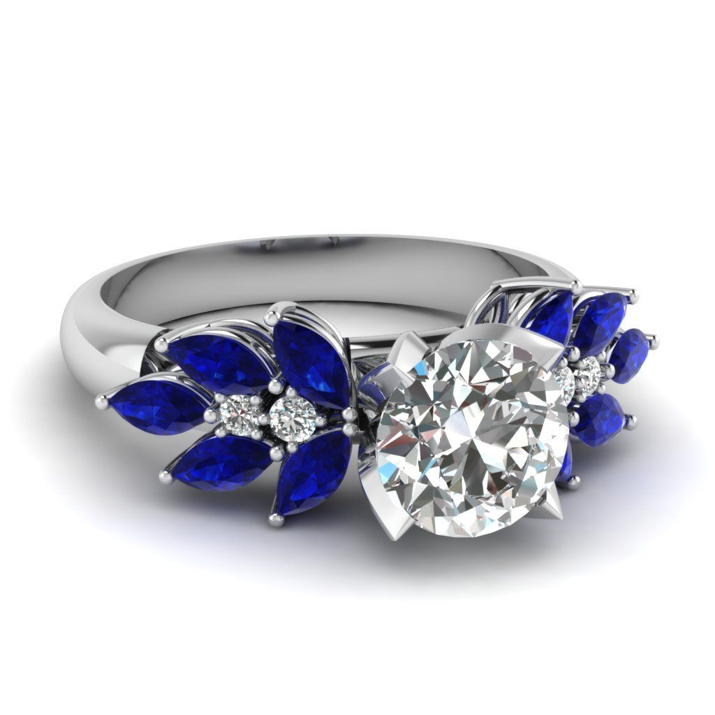 large engagement rings blue