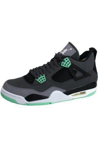 Nike Mens Air Jordan Retro 4 Basketball Shoes Dark Grey/Cement Grey/Green  Glow