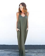Olivian Maxi Dress - Olive - Medium/Large