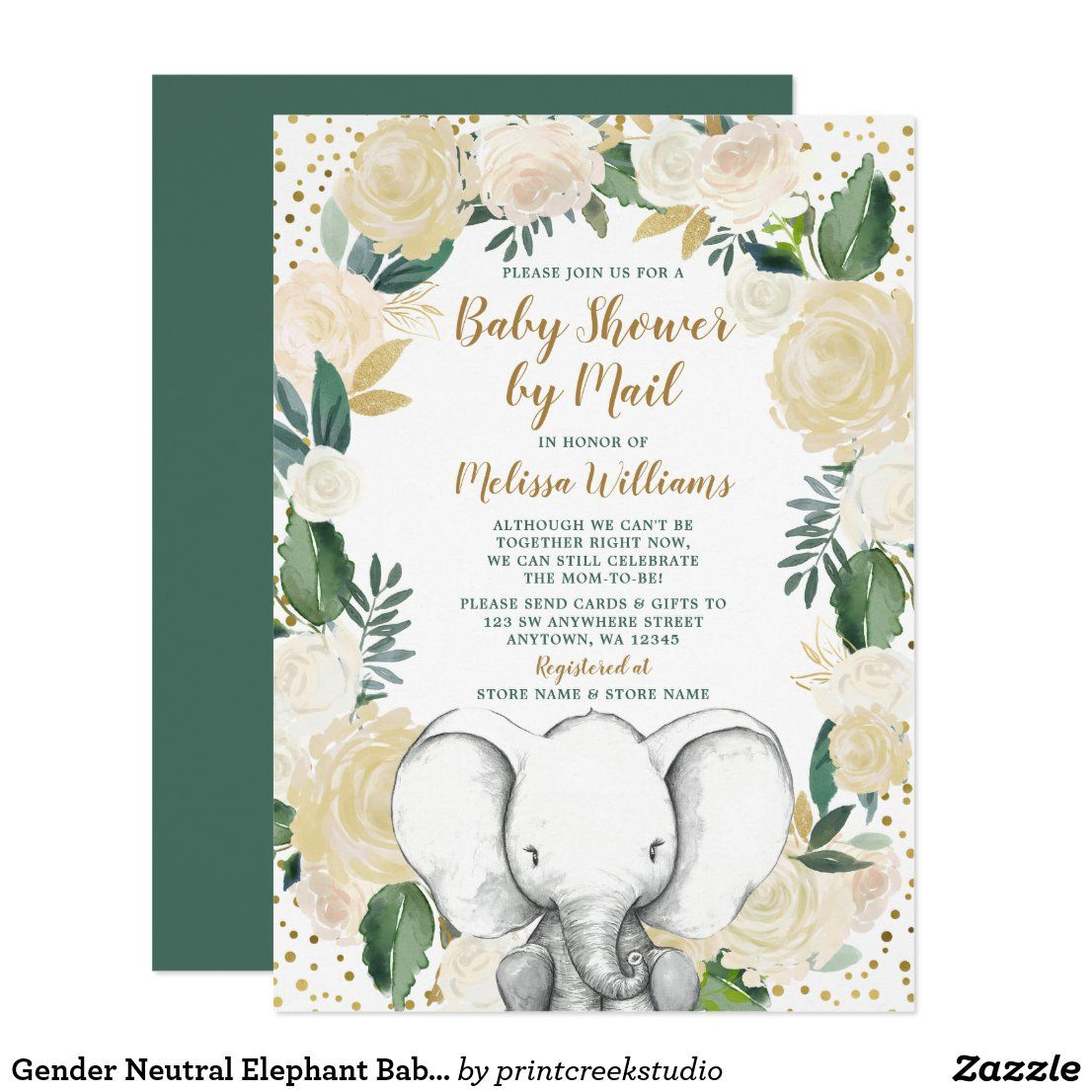 Gender Neutral Elephant Baby Shower by Mail Invitation