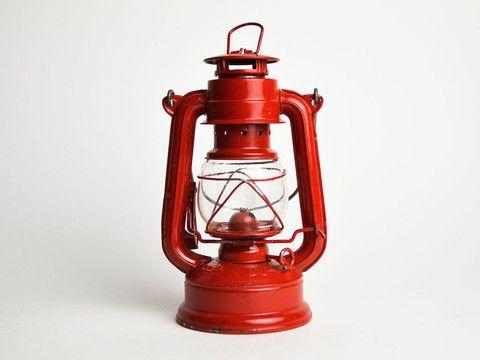 Very Cute Cherry Red Vintage Chinese Paraffin (Kerosene?) Lamp