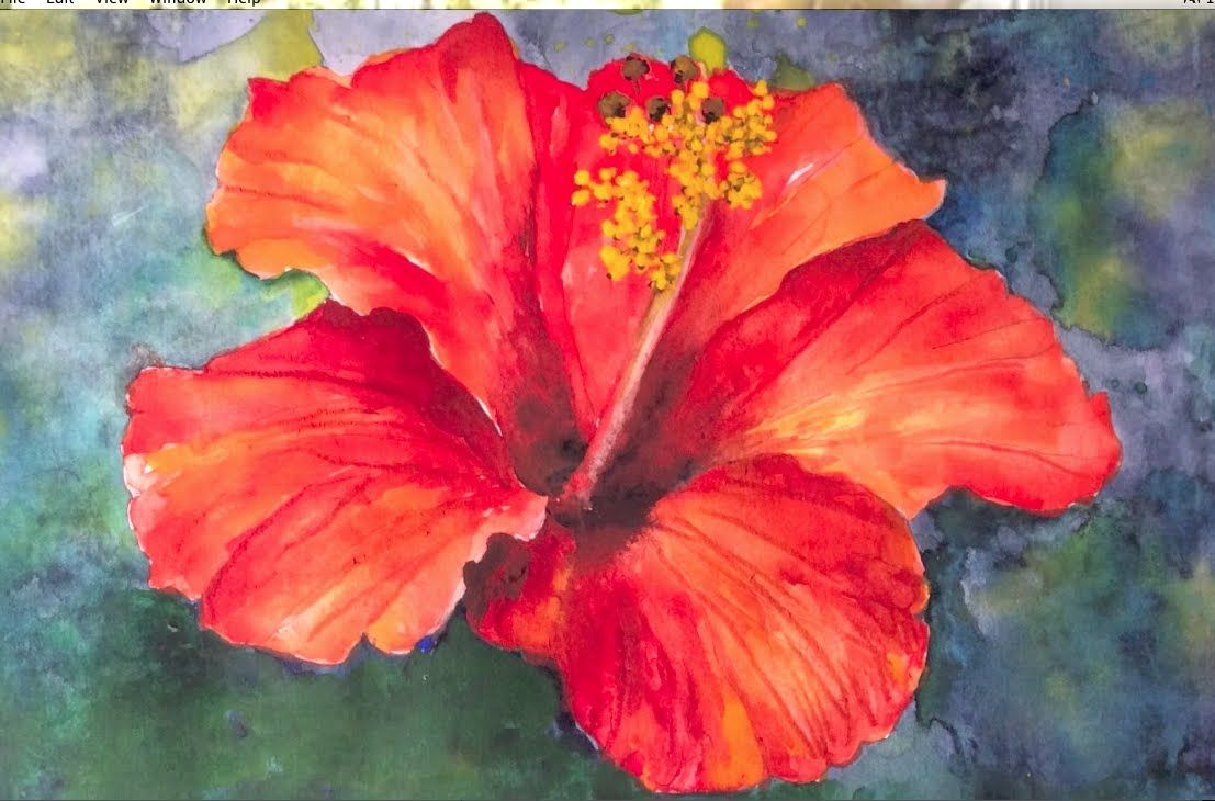 Easy step by step tutorial how to paint hibiscus flower for Watercolor tutorials step by step