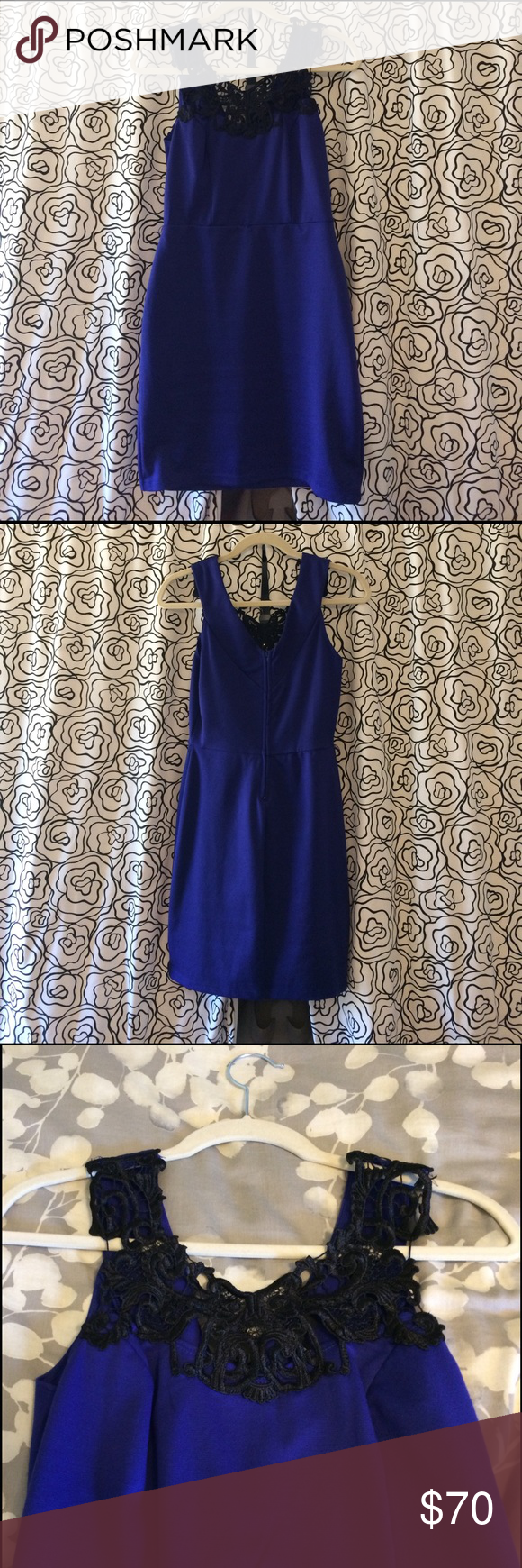 Blue Lace Detail Dress From Von Maur Flattering Blue Dress With Black Lace Detailing On Top Falls To Mid Thigh Lace Detailed Dress Wish Dresses Clothes Design [ 1740 x 580 Pixel ]
