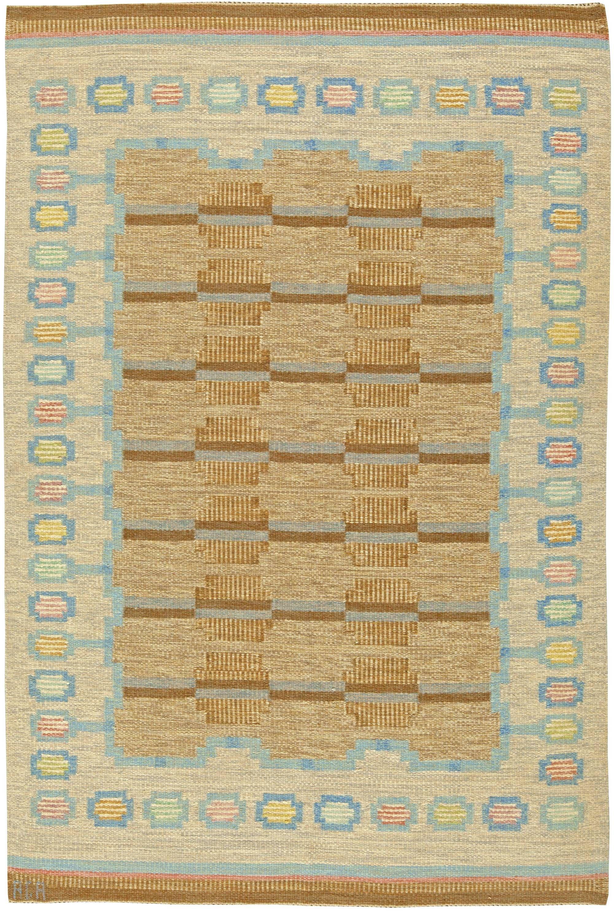 Antique Rug Antique Carpets Antique Persian Rugs Tabriz Rugs Custom Rugs Vintage Swedish Flatweave Rug Signed By Scandinavian Rug Flat Weave Rug Swedish Rug