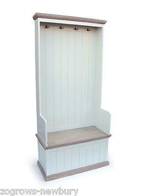 Southwold Off White Wood Coat Rack Hooks Hallway Storage Seat