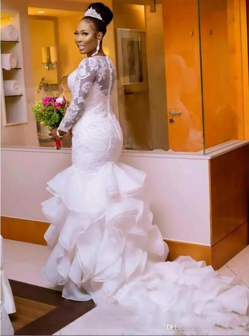 2fc26934645 South African Nigerian Mermaid Wedding Dresses Plus Size 2019 Long Sleeve  Sheer Neck Bodycon Fishtail Bridal Gowns Beaded Chic Layer Ruffles