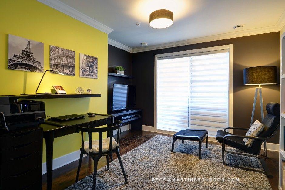 Nous avons choisi la vivacité du jaune pour l espace bureau et le