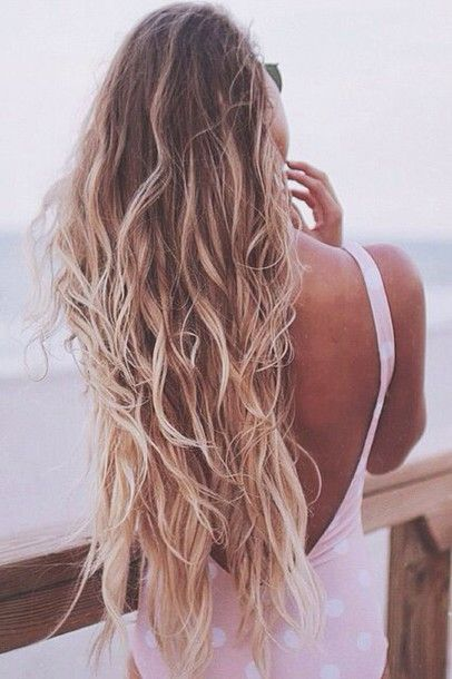There Are  Tips To Buy This Make Up Beach Hair Long Hair Blonde Hair Ombre Hair Swimwear One Piece Swimsuit Wavy Hair