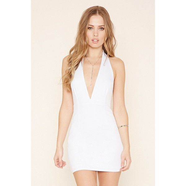 4050718a5 Forever 21 Women s Deep-V Halter Mini Dress ( 23) ❤ liked on Polyvore  featuring dresses