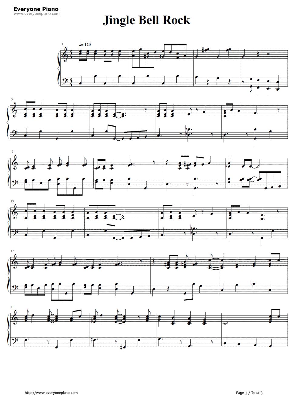 Jingle Bell Rock Bobby Helms Stave Preview 1 Jingle Bells Sheet Music Piano Music Christmas Sheet Music