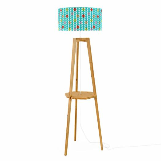 KALEIDOSCOPE - Lampadaire Tissu motifs bleu/Trepied Chêne H150cm Mademoiselle Dimanche