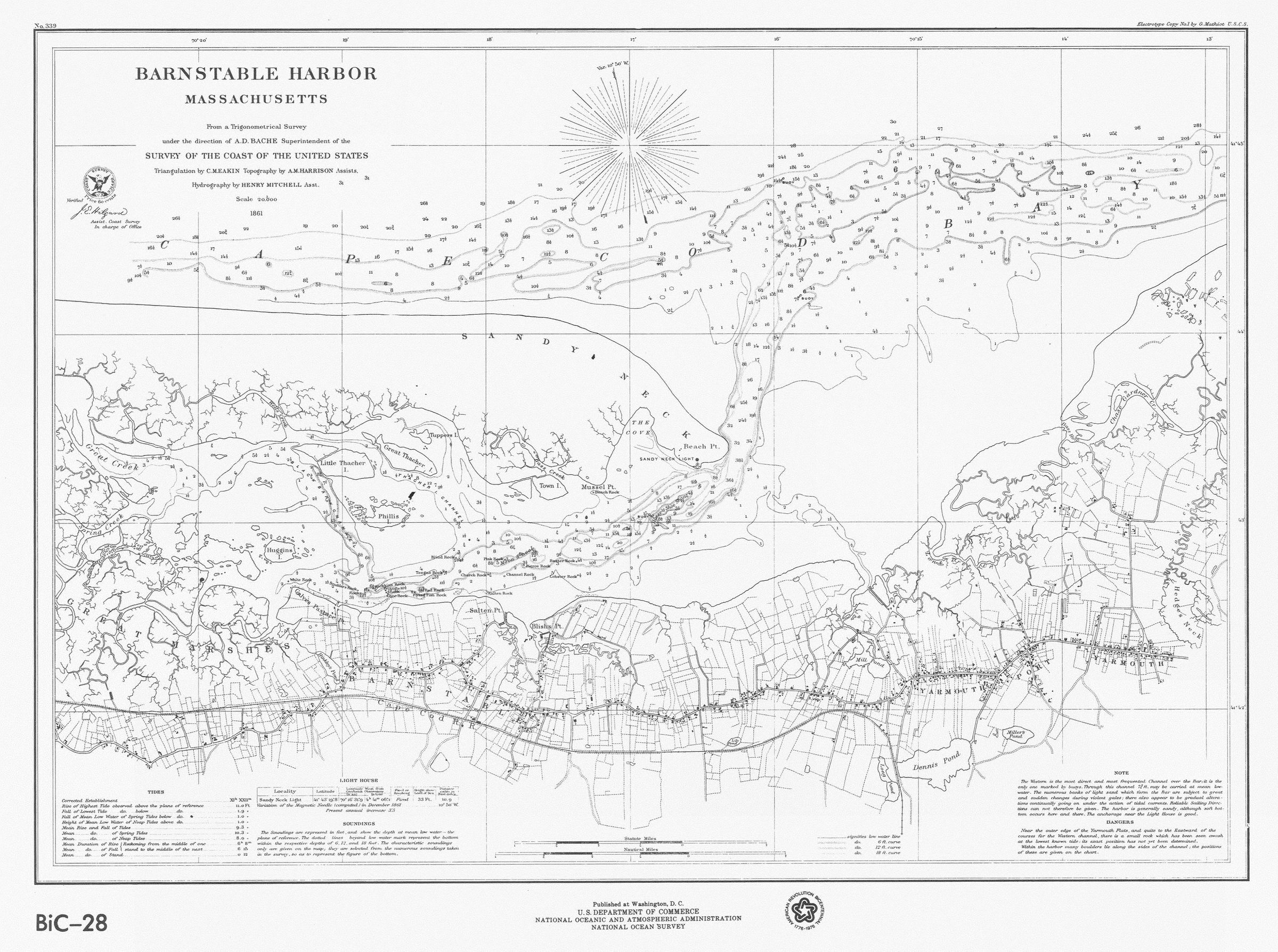 18 X 24 Inch 1861 Us Old Nautical Map Drawing Chart Of Barnstable Harbor From Us Coast Geodetic Survey X2747