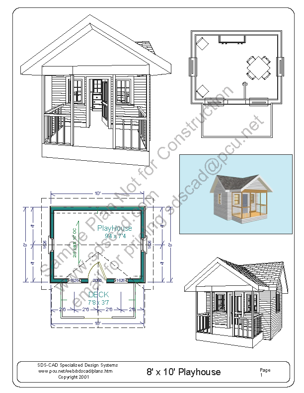 Free Playhouse Plans Blueprints Construction Drawings PDF Download .