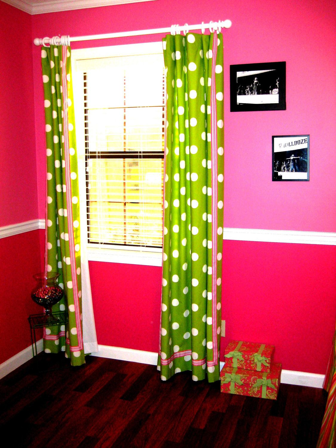 Lime Green Bedroom Curtains Lime Green White And Pink Polka Dot Curtains For Two Windows