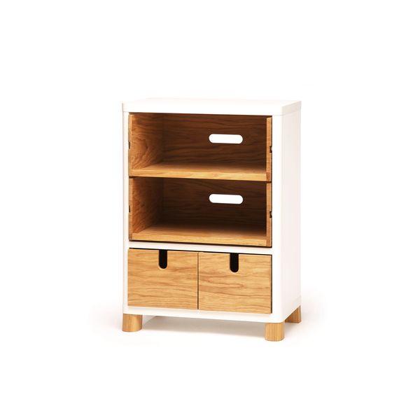 Kleiner Küchenschrank mit Regalen und Schubladen aus Holz. Viel ...