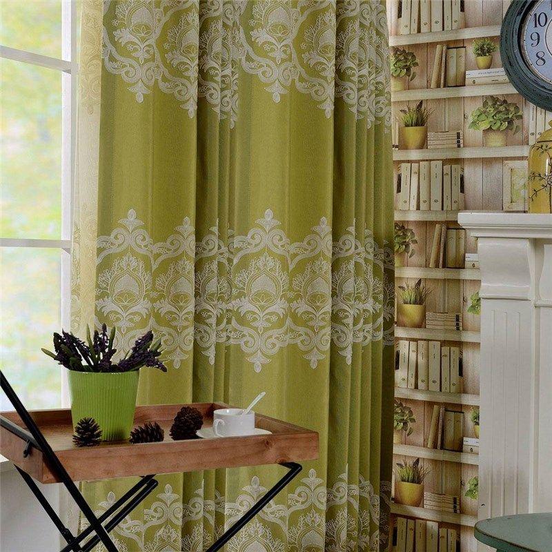 Rideau occultant brodé en coton lin écologique vert pour chambre à