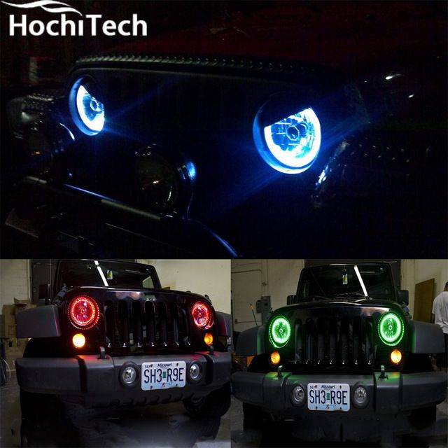 For Jeep Liberty Kj 2000 2001 2002 2003 2004 2005 2006 2007 Rgb Led Headlight Rings Halo Angel Demon Eyes With Remote Controller Jeep Liberty Led Headlights Demon Eyes