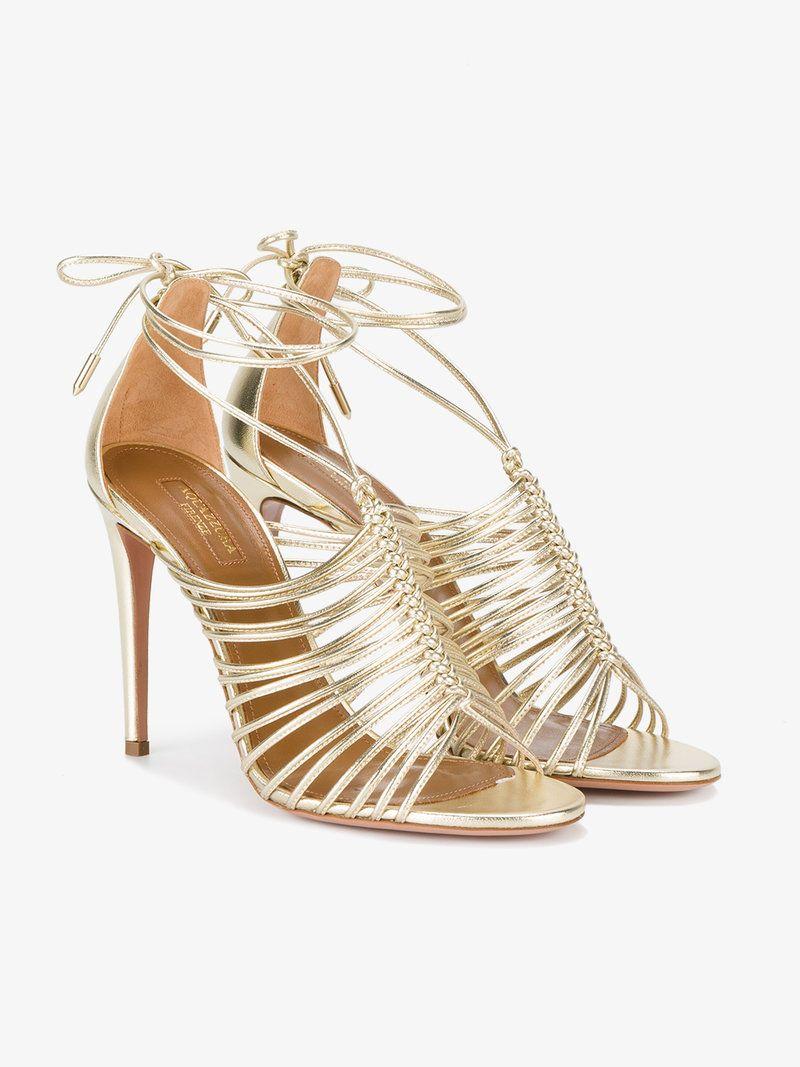 Gold Nadja 110 Leather Sandals | Heels, Sandals, Leather sandals