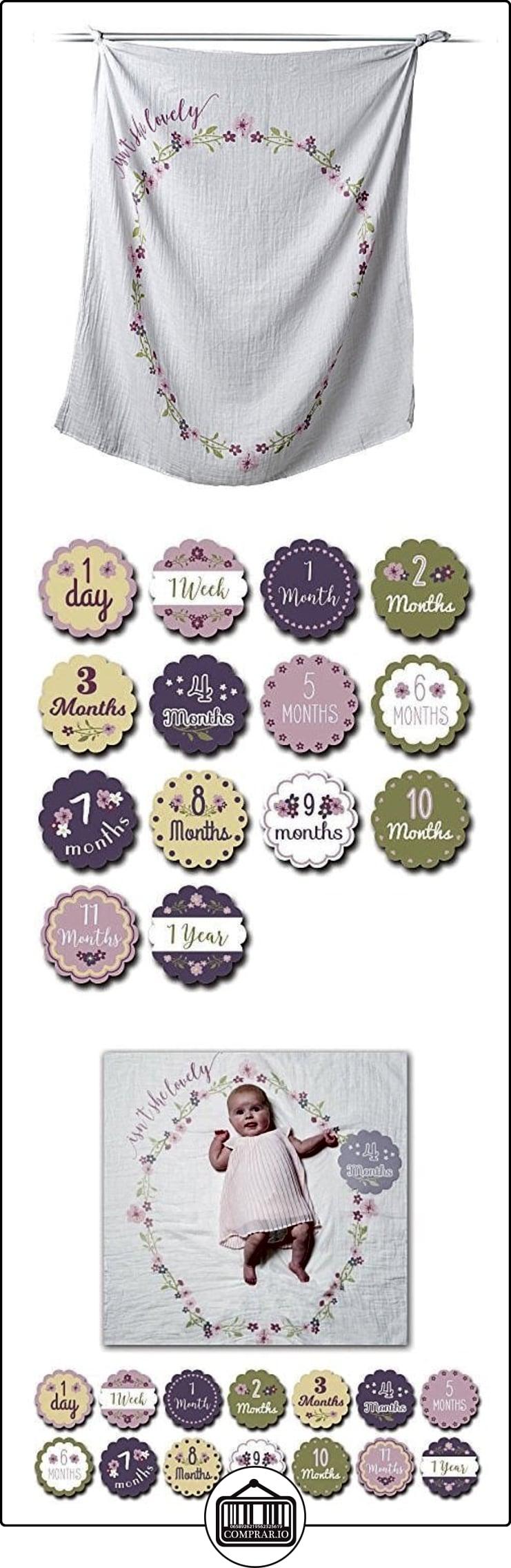 lulujo Baby de techo paños con 14meses de tarjetas Baby de tarjetas para fotografía y Agarrarse el primera Desarrollo Pasos de su bebé en el primer año de vida flores  ✿ Regalos para recién nacidos - Bebes ✿ ▬► Ver oferta: http://comprar.io/goto/B01N4BBV02