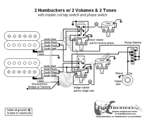 2 Humbuckers 3 Way Lever Switch 2 Volumes 2 Tones Coil Tap Reverse Phase Toggle Switch Coil Switch
