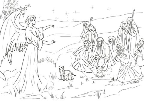 Angel Gabriel Announcing The Birth Of Christ To Shepherds Coloring Page Free Printable Coloring P Angel Coloring Pages Nativity Coloring Pages Coloring Pages