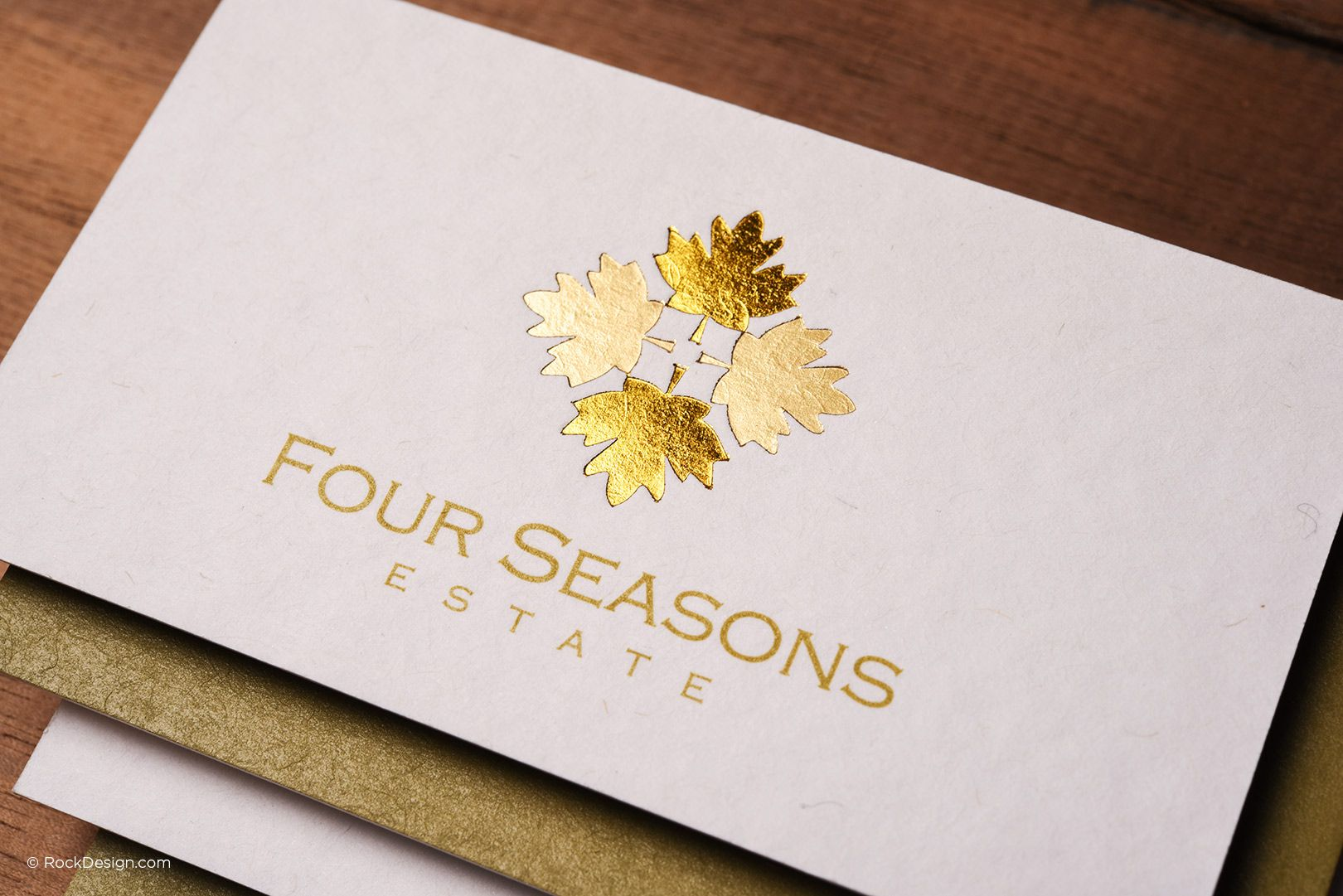 Classic elegant premium white business card with gold foil - Four ...