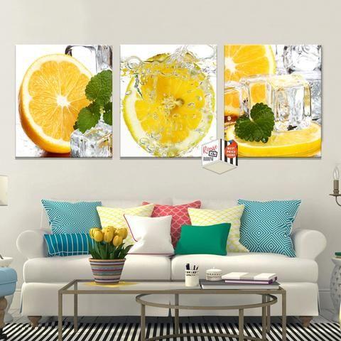 Lemon Splash 3 Panel Kitchen Wall Art | Kitchen wall art, Wall ...