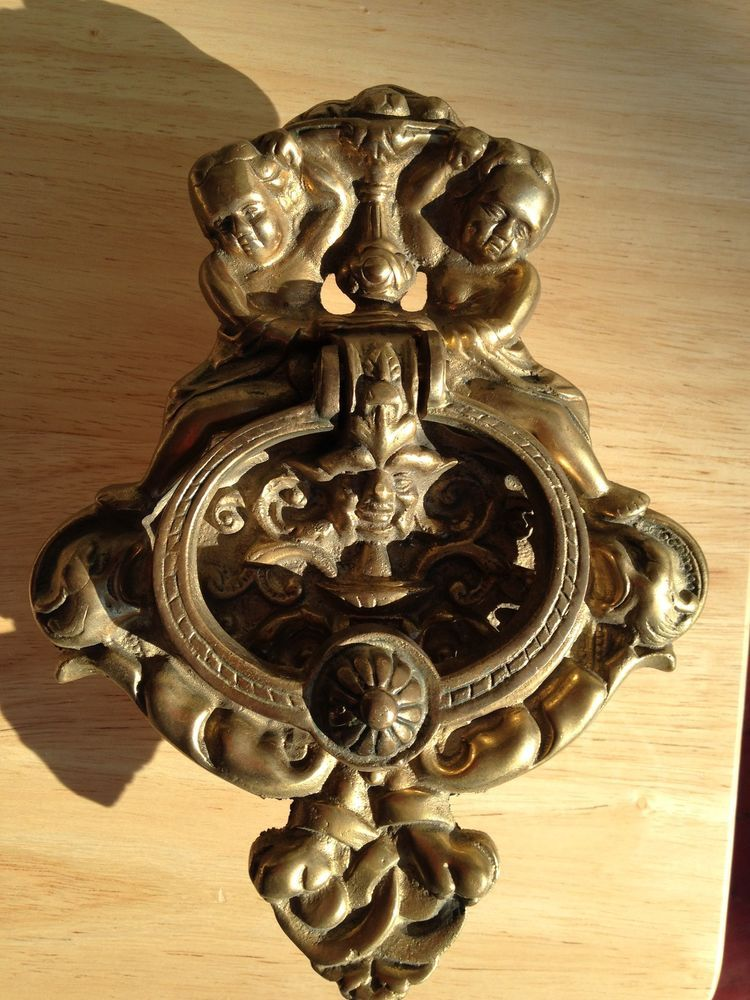 Antique Heavy Solid Brass Mythical Double Angel Cherub Wind Demon Door  Knocker