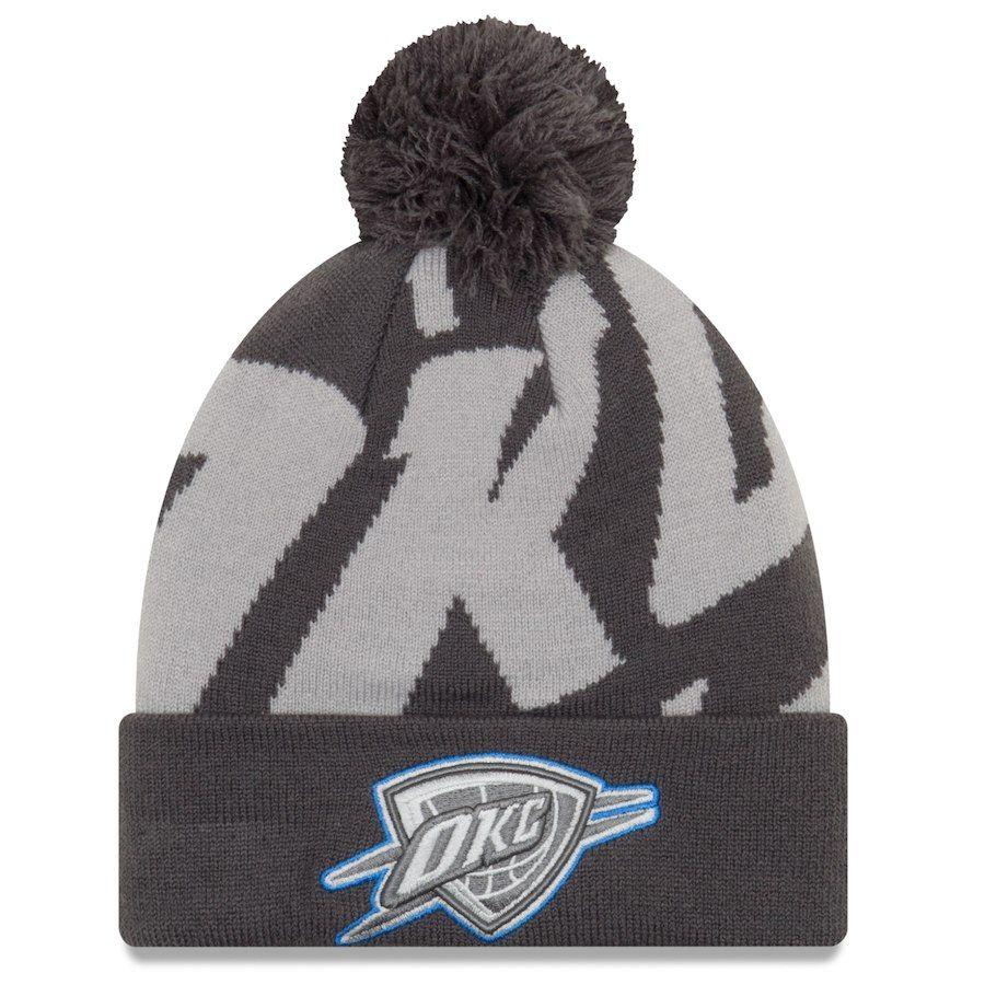 1c0d4e6cc27 Men s Oklahoma City Thunder New Era Black Gray Logo Whiz 3 Cuffed Knit Hat  with Pom