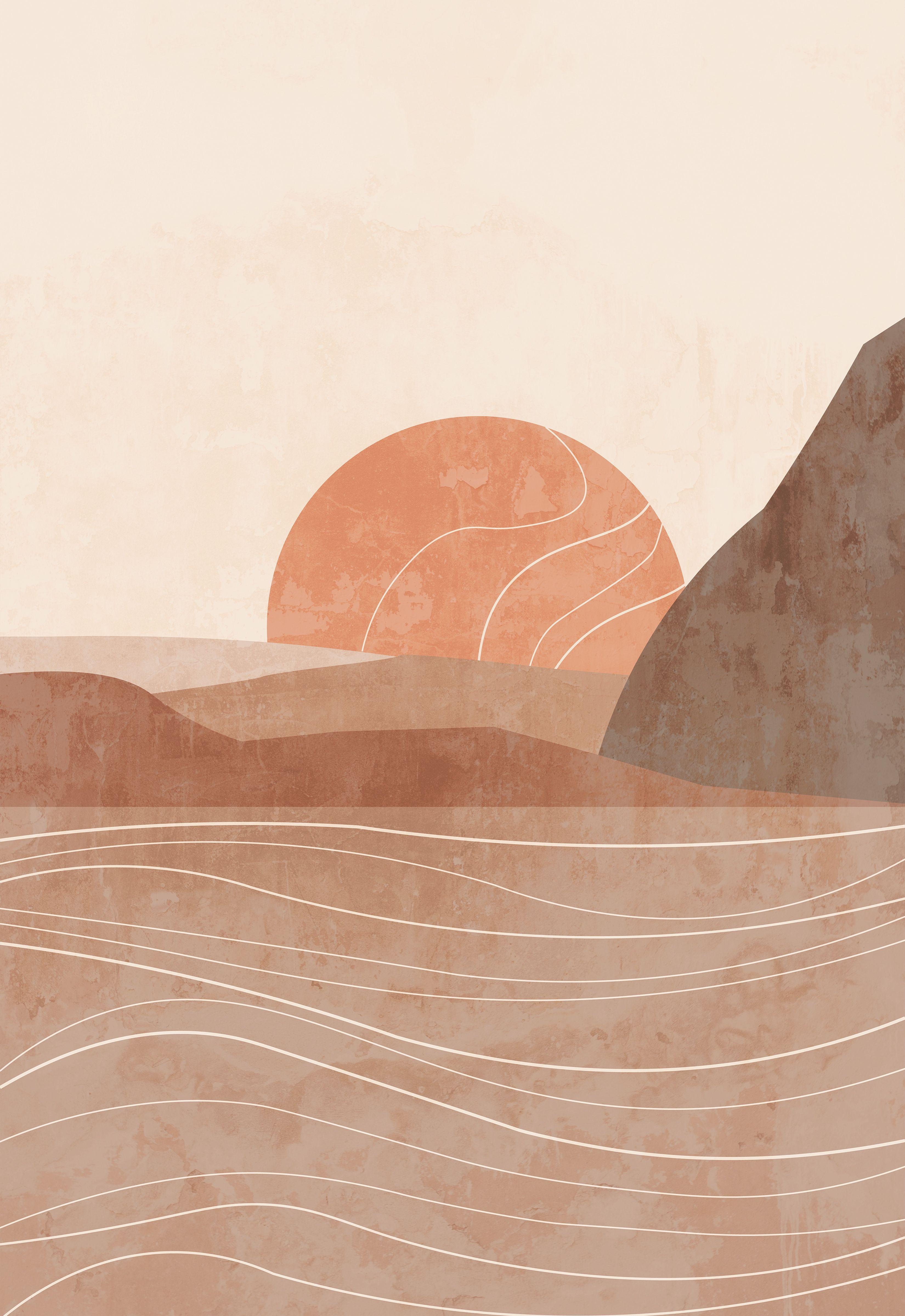 Abstract Boho Landscape Modern Art Terracotta Print In 2020 Art Prints Boho Modern Art Prints Wall Art Wallpaper