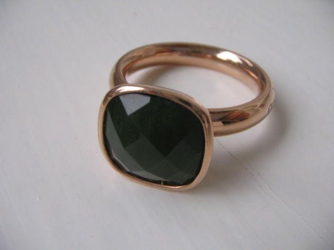 Modeschmuck ringe rosegold  Qudo Ring Estella * palace opal grün * roségold vergoldet * Gr. 50 ...
