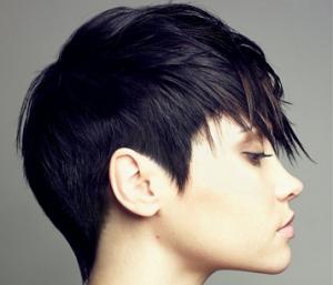 Les cheveux noirs de cette jeune femme ont été coupés court, mais les cheveux du dessus de la tête ont été coupés plus long et ramenés vers l'avant. De belles pointes ont été taillées sur les tempes et à la nuque.