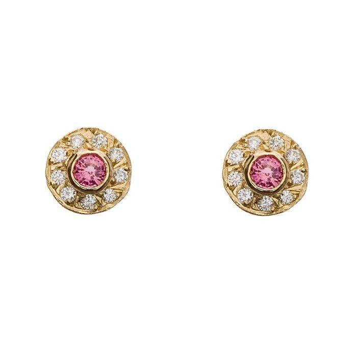 Pink Tourmaline Diamond Stud Earrings M Flynn Boston Engagement Rings Custom Jewelry
