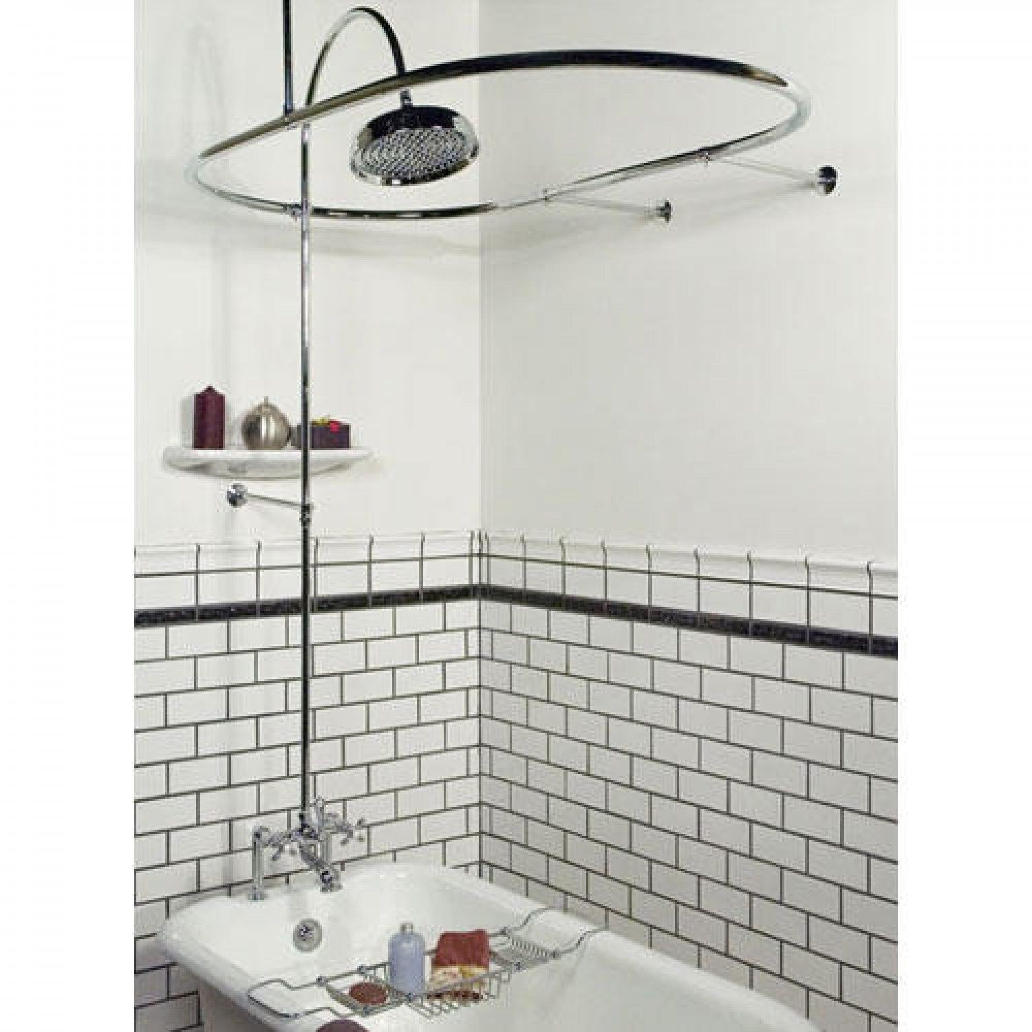 Clawfoot tub rain shower - Sheffield Deck Mount Hotel Style Solid Brass Shower Conversion Kit Clawfoot Tub