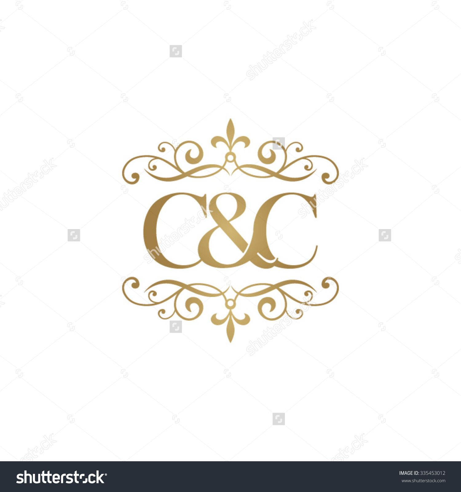 C&C Initial Logo. Ornament Ampersand Monogram Golden Logo