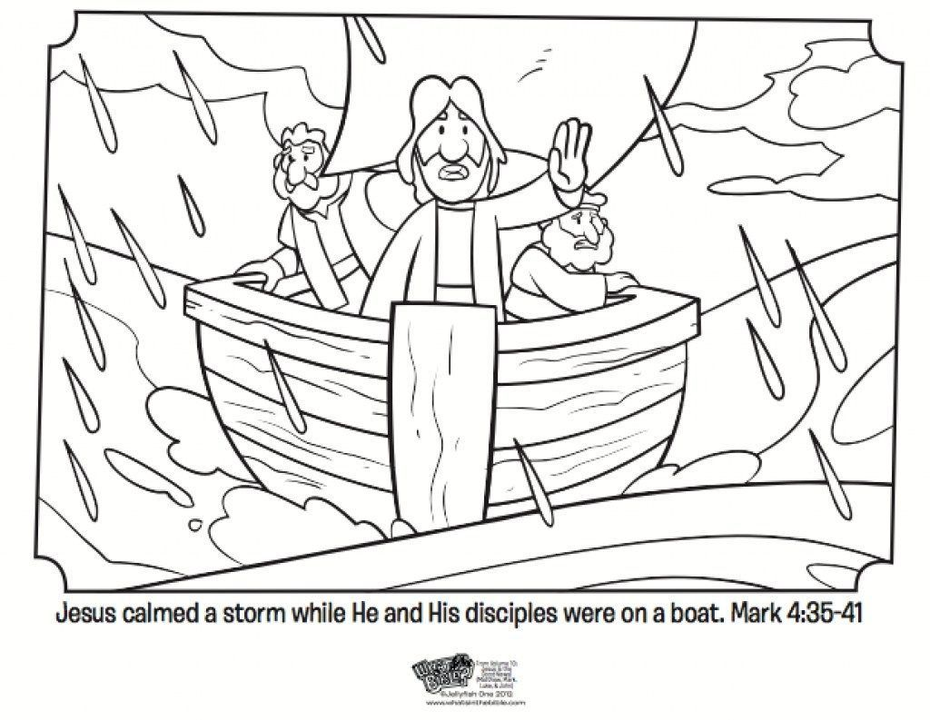18 02 25 Jesus Calms The Storm Coloring Page Free Printable With