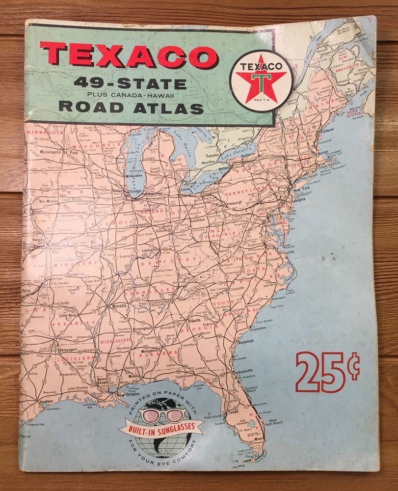 Vintage 1959 Texaco Rand McNally Road Atlas 49 State Plus Canada ...