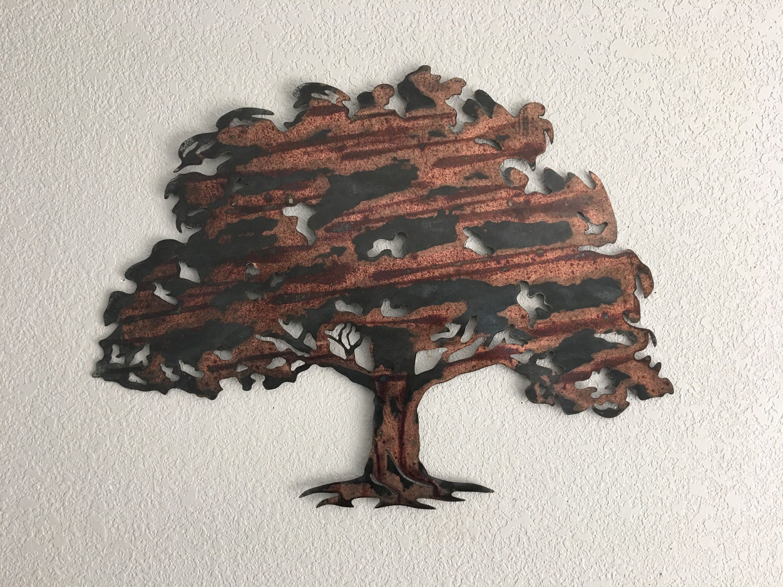 Oak tree metal tree art wall art by garrettsmetalart on etsy