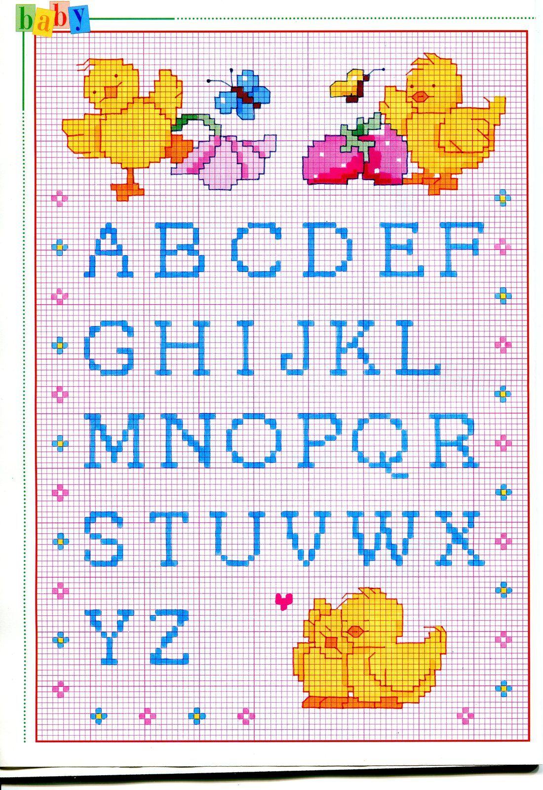 Alfabeto punto croce maiuscolo piccolo con pulcini e for Ricamo punto croce alfabeto
